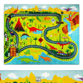 Multi-Color Kids Dino Safari Road Map Area Rug
