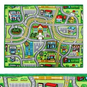 Street Map Multi-Color Kids Play Area Rug