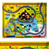 Multi-Color Kids Animal Safari Road Map Area Rug