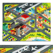 Multi-Color Kids Playroom Road Map Area Rug