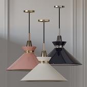 Mitzi Kiki Aged Brass Pendant Light Pink-Blue-Cream Shade