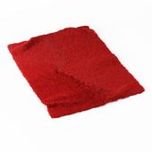 Red angora fur rug
