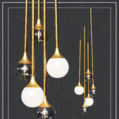 Pendant lamp Bullarum SS-5 gold clear glass and white shade