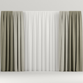 Beige curtains in two colors.