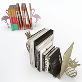 Books end Pineapple Flamingo