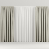 Wide beige curtains.