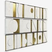 Art Wall Sculpture Panels Modernist Frieze Triptych by Paul Marra