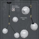 Подвесной светильник Nuevo Bulb chandelier Atom 3 White Glass Black Body