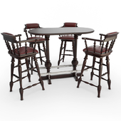 Wooden Table and barstools