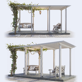 Painted Wooden Pergola
