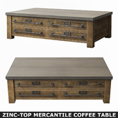 ZINC-TOP MERCANTILE COFFEE TABLE 55in