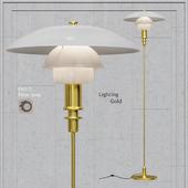 Floor lamp Louis Poulsen PH 3/2 Floor Lamp white glass and gold bace