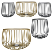 Gold Round Industrial Steel Wire Coffee Table