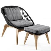 Joemie armchair. Stool, braided rope