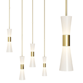 Clarkson Medium Narrow Pendant by AERIN Brass and Milk glass