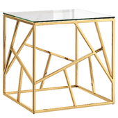 Side table Serene Furnishing Dark Chrome Marble Top, Gold Clear Glass Top Side Table