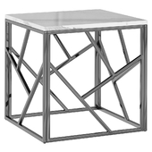 Side table Serene Furnishing Chrome Marble Top Side Table