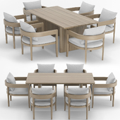 RH Outdoor Baimain restangular table-chair