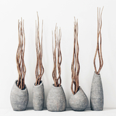 Branches in concrete vases / Branch concrete vase