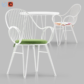 Scroll Outdoor Dining Chair with Bistro Table