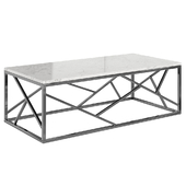 Coffee table Serene Furnishing Chrome Marble Top coffee table, Gold Clear Glass