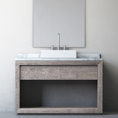 RECLAIMED RUSSIAN OAK SINGLE EXTRA-WIDE WASHSTAND Gray