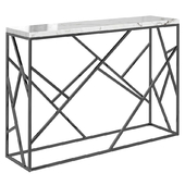 Console Serene Furnishing Dark Chrome Marble Top Console, Gold Clear Glass