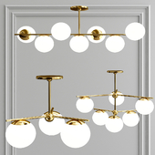 sphere + stem chandelier - brass