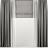 Gray curtains with Roman and tulle.