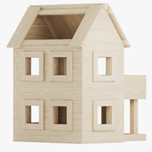Wooden constructor. House with terrace