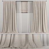 Wide brown curtains with Roman and tulle.