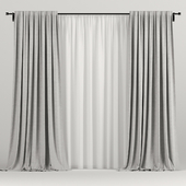 Light gray curtains with tulle.