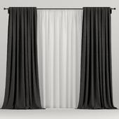 Чёрные шторы с тюлем.