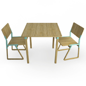 Noem Wooden Table and Chairs