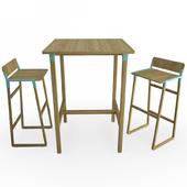 Noem Wooden Table ans bar stools
