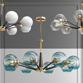 Chandelier Thalia chandelier Blue glass