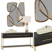 Midnight Console Table and Brass and Glass Table Lamp John Richard