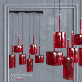 Pendant lamp AXO Light Spillray SP lamps 6 Red Glass