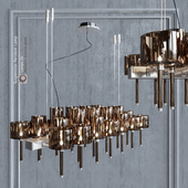 Chandelier AXO Light Spillray SP lamps 26 metallic bronze glass