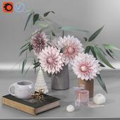 Garden Dahlia flowers decor set