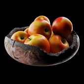 Wooden bowl with apples