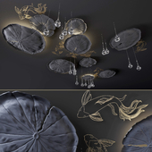 Ceiling decor - Water Lily and fish L