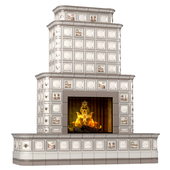 Tiled fireplace.