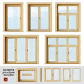 Set of wooden windows 2 + Designer