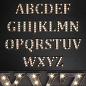 Lighted Metal sign. Set 13. Alphabet