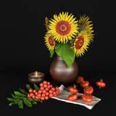 Decorative set with sunflowers and mountain ash