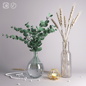 Decorative set with eucalyptus