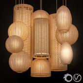 Rattan lighting set