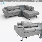 Corner sofa convertible chaise longue PHOENIX