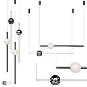 Pendant lamp Lee Broom ORION GLOBE LIGHT Black and Chrome